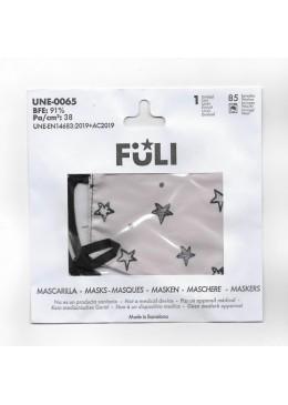MASCARILLA FULI ESTRELLAS GRIS T-GRANDE 030037 PROTECCIÓN CORONAVIRUS
