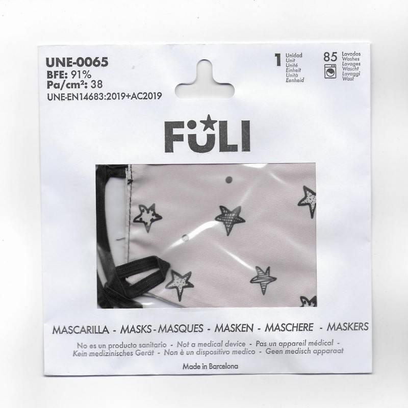 MASCARILLA FULI ESTRELLAS PALE T-GRANDE 030065 PROTECCIÓN CORONAVIRUS